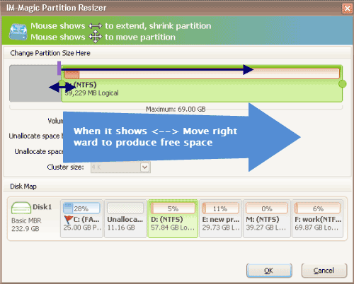 Resize partition with IM-Magic Partition Resizer