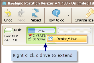 right click server c drive to extend