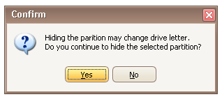 confirm hide partition
